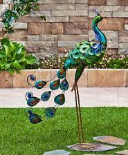 Garden Statues And Sculptures Peacock Yard Art Outdoor Metal Lawn Ornament Bird