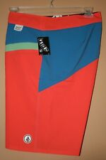 "Volcom Men's Board Shorts  Orange/Blue ""Pink Strobe"" Size 38 NWT"