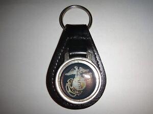 États-unis Marine Corps Surélevées Emblème Cuir Noir Clé Bague Neuf, non Utilisé