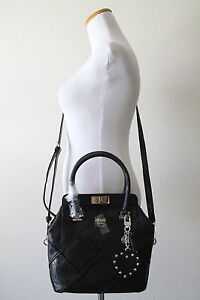 Authentic NWT GUESS Winett Small Turnlock Satchel Style # SG662205 - BLACK