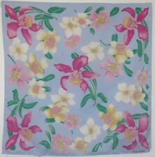 "TERRIART Blue, Pink, Yellow Flowers 26"" Square Scarf-Vintage Elorian Original"