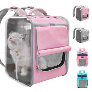 Pink Breathable Cat Carrier Backpack Large Cats Small Dogs Mesh Travel Bag Cage