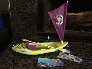 EUC AMERICAN GIRL DOLL Lea's Entire Kayak Canoe Set With Box