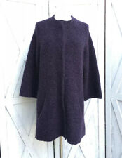 Eileen Fisher Eggplant Wool Coat Sz M Snap On Button 3/4 Sleeve Long Holiday
