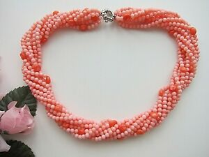 9 Row Pink Coral Gemstone Multi Strands Necklace.