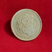 Vintage Greek coin pin brooch