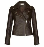 Leather Jacket Women Brown Biker Moto Lambskin Size S M L XL XXL 3XL Custom Made