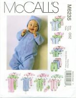 McCalls M6235 Infant Baby Preemie Layette Sewing Pattern Romper Gown Cap UNCUT