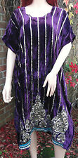 Vintage Hand Made Indian Hippy Boho Embellished Purple Velvet Kaftan