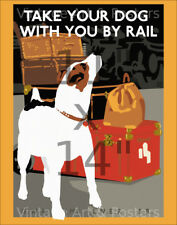 Vintage British Railways Travel Art Print Take Your Dog With You by Rail 11x14