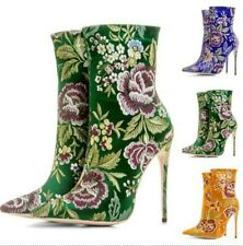 Sexy Women Floral Embroidered  Satin Ethnic Pattern Pointed 12cm Heel Ankle Boot