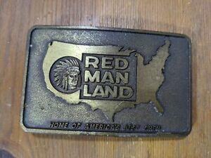 Vintage REDMAN LAND CHEWING TOBACCO Brass BELT BUCKLE 1988 PINKERTON