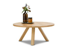 Scandinavian Coffee Table Round 80cm Light Wood Oak Timber Living Room