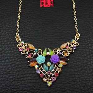 Betsey Johnson Multi-Color Crystal Rhinestone Flower Pendant Long Necklace