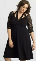 KIYONA Black Romantic Lace Sleeves Cocktail Party Dress Made Is USA NWT Women 3X