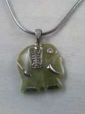 """Jade Sterling Silver Elephant Pendant AVON Necklace 19"""" with Box *ii"""