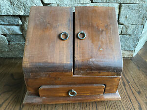 Wooden Desk Organizer Storage Box