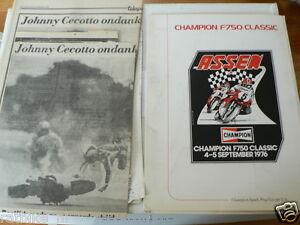1976 F750 FIM MOTO RACE ASSEN PRESS INFO F1 FINDLAY,AGOSTINI,KNEUBUHLER