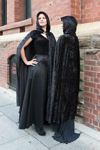 Medium Length, Black Gothic, Medieval velvet Cloak with Hood