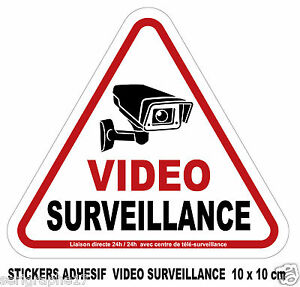 1 sticker adhesif camera video surveillance / format 10x10cm / ref SV01