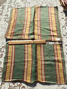 2 Pieces Of French Or Italian Antique 18thC Heavy Variegated Silk Stripe Fabrics