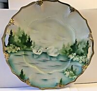 """ANTIQUE R.S. PRUSSIA  *  SWANS  * RED MARK * CABINET PLATE 9 1/4"""" WIDE * RARE"""