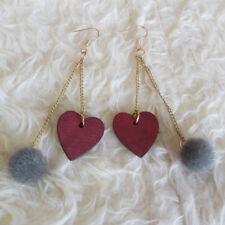 Ball Gold-Tone Chains Dangle Hook Earrings Womens Red Wooden Heart Gray Velour
