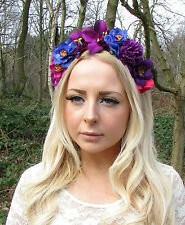 Purple Blue Hot Pink Orchid Rose Flower Garland Headband Festival Hair Band 2246
