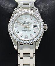 Rolex Masterpiece Pearlmaster 80299 18K W Gold Fact Diamond Bezel MOP Dial B/P