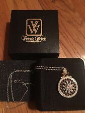 Dazzling Pendant Necklace, Unused L@K! Vintage Victoria Wieck Beverely Hills Cz