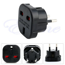 UK to EU 2 Pin Euro Europe AC Travel Power Adaptor Plug Socket Adapter Convertor