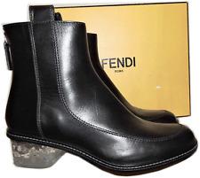 Fendi Chelsea Runway Black Boots Ice Heel Short Ankle Back Zipper Bootie 35