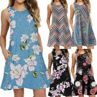 Women Summer Casual Sleeveless Printed Swing Mini Dress Sundress with Pocket