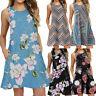 Women Summer Casual Sleeveless Printed Swing Mini Dress Sundress with Pocket US