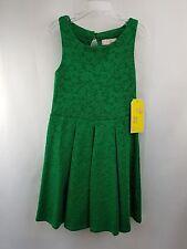 NWT GB GIRLS sz M green brocade sleeveless dress
