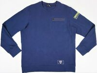 Reebok Crossfit Crewneck Sweater Blue Side Zipper Pocket Pullover Sz Large