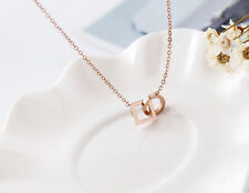 New Women's 18K Rose Gold Filled Hoop Ring Square Pendant Charm Necklace Jewelry