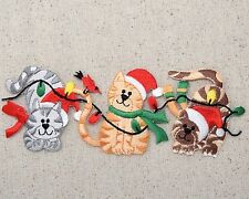 Iron On Embroidered Applique Patch Christmas Kittens Cats Lights Santa Hat Pets
