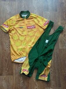 Men's Cycling Shirt Jersey Bib shorts Set W'AMS Nectaflor Size L