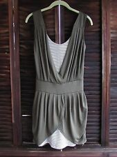 Derek Heart Olive Green Striped Clubwear Sexy Sleeveless Ruched Dress Small