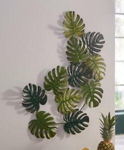 """3D Metall Wand Bild """"Monstera"""" grün, 95x60 cm, Schmuck Deko Verzierung Blätter"""