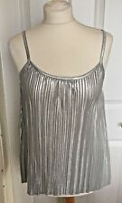 Ladies H&M Silver Ribbed Strappy Top Evening Party Size S B70
