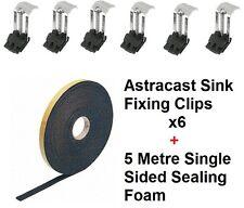 Kitchen Sink Fixing Kit Includes 6 x Clips & 5 Metre Sealing Foam One Sided