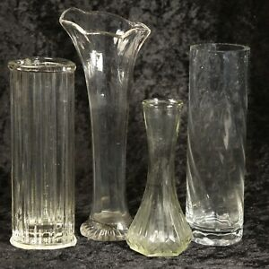 Lot of 4 Assorted Clear Glass Vases - Hoosier, FTDA, Unbranded