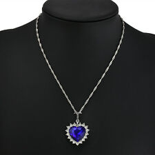 Charm Women Ocean Heart Crystal Pendant Necklace Jewelry Rhinestone Necklace
