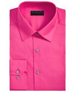 Alfani Mens Dress Shirt Pink Size Small S 14-14 1/2 Slim Fit Stretch $60 #344