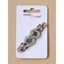 NEW 6.5cm Silver vintage crystal swirl design barrette hair clip wedding fashion