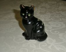Fenton Copper Rose on Black Cat Hand Painted Figurine 1990 Signed by Artis