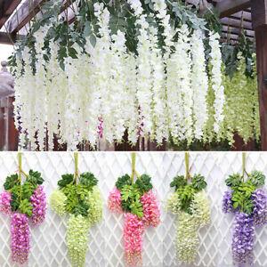 Trailing Artificial Garden Hanging Silk Wisteria Flower String Vine Wedding Deck