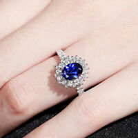 Elegant Women's Wedding Rings 925 Silver Jewelry Blue Sapphire Ring Size 6-10
